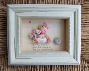 Personalised New Baby Gift Plaque, Polymer Clay Picture Frame, Boy or Girl, Nursery