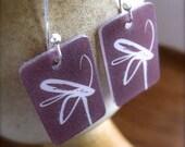 flower earrings - purple plastic wearable art