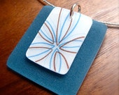 half price summer sale - blue flower necklace - plastic pendant