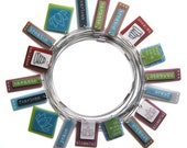 4 for 40 - round shrinky dink handmade pendants - inspirational words - discount price