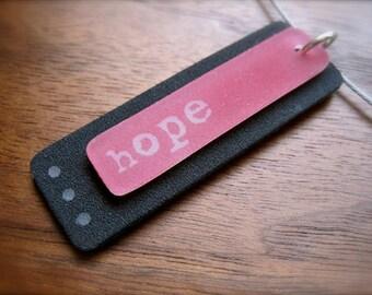 hope necklace - inspirational plastic pendant - cancer awareness - pink
