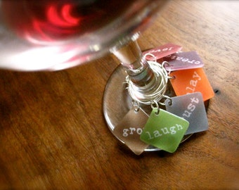 wine glass charms - personalized words - hostess - wedding - tabletop stemware charms