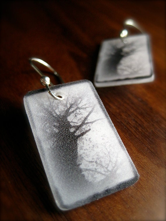 tree earrings - nature photo jewelry - shrinky dink - black and white