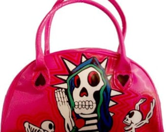 day of the dead hand painted handbag