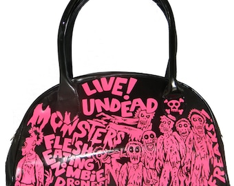 zombie attack black n pink hand painted patent handbag