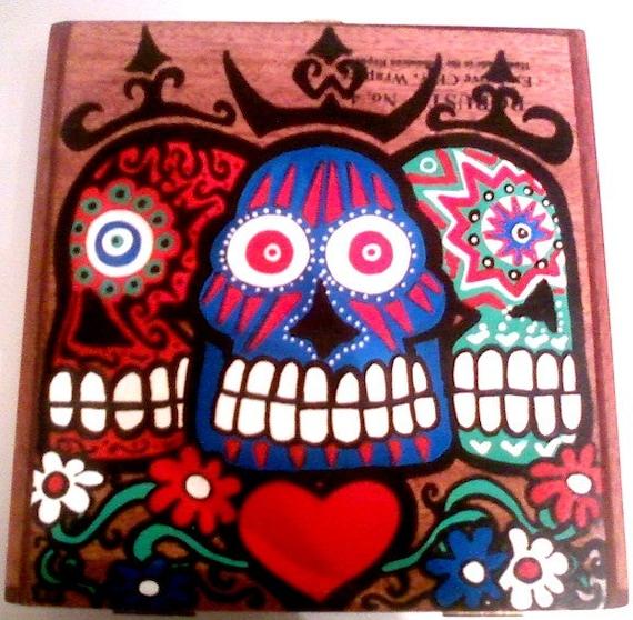day of the dead cigar box purse