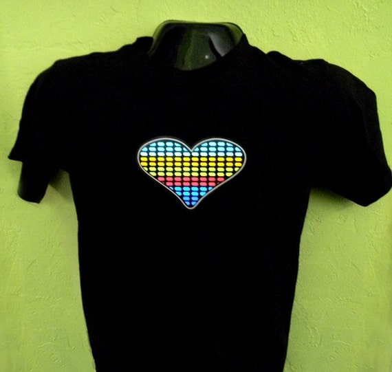 light up equalizer sound activated  heart tshirt