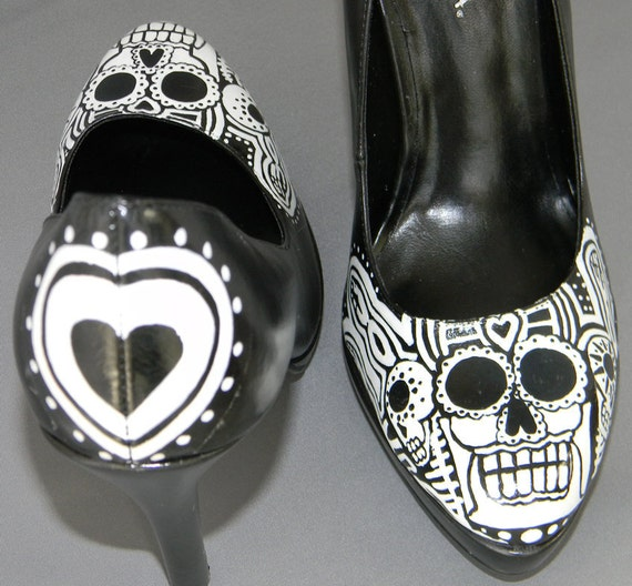 Day of the dead sugar skull hand painted shoes