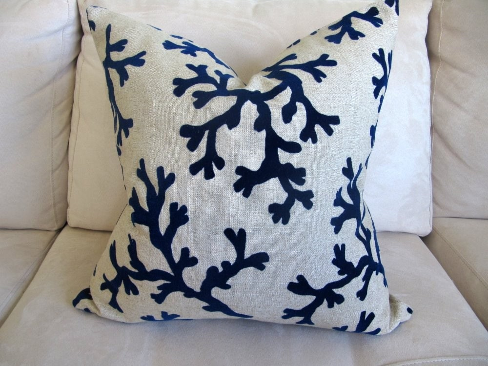 Blue Velvet Decorative Pillow : Navy blue velvet coral decorative pillow cover 18x18 inch