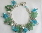Turquoise Bracelet Lucite Flower Charms Summer Jewelry
