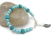 Turquoise Bracelet Glass Pearls with Magnesite Summer Jewelry Prom Bracelet