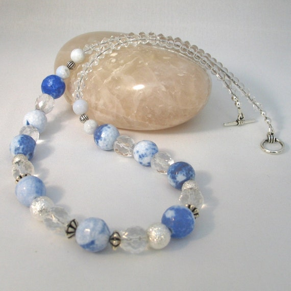 SALE Blue Necklace Fire Agate Gemstone with Clear Quartz Summer Colours Blue Sky