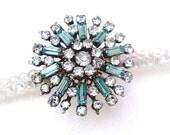 IRIS winter white vintage swarovski crystal headband