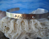 Fearless Serenity Cuff Riveted Bracelet Hammered Jewelry Personalized Metal Uniquely Impressed