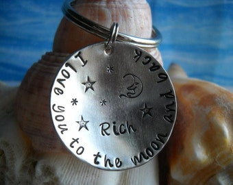 I love you to the moon and back Metal Key Chain Hammered Personalized Stars Moon Name Disc Love Uniquely Impressed