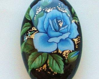 NEW LOVELY Japanese Tensha Focal Bead Blue Rose on Black