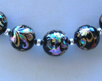 NEW 5 Japanese Tensha Beads Arabesk on Black 10 MM
