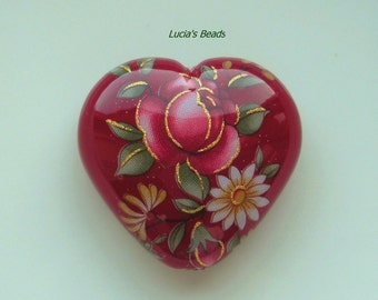 NEW LOVELY Pink Rose on Wine Japanese Tensha Heart Beads with (25) 4MM Swarovski Crystals in Jet
