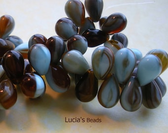 NEW  Czech Glass Drop Beads in Shades of Blue and Brown (15) 10 x 5 MM