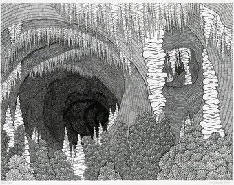 Cave Screenprint -Black and White