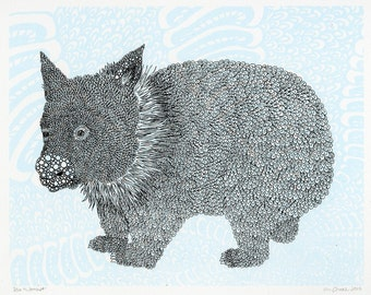 Baby Wombat Hand Pulled Screenprint 11x14