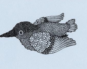 Blue Bird Screenprint 4x6