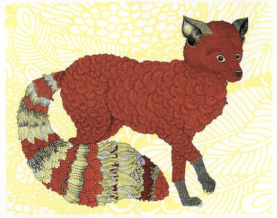 Woodland Fox Screenprint - Pink 18x24