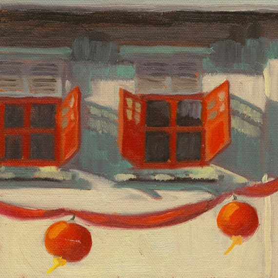 Chinese Red Paper Lantern Painting - Chinatown Singapore - Shophouse Window No. 10 - Print of Original Oil Painting