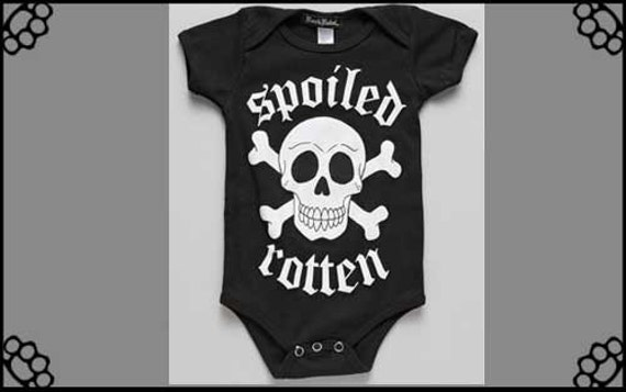 Spoiled Rotton Skull one piece baby suit CLEARANCE