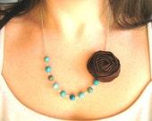 Decadent Truffles fabric flower necklace beaded rosette