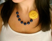 Navy and yellow fabric flower necklace - HappyLittleLovelies