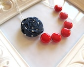 Navy red and white fabric flower necklace