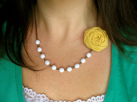 White beaded fabric flower necklace clip brooch pin Design Your Own