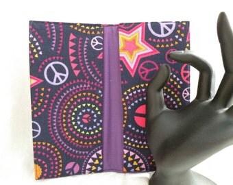 Purple Peace Sign Checkbook Cover