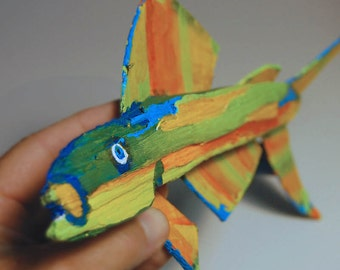 Whimsical FISH ART - Colorful Original Painted Yellow, Green, Blue, Orange Recycled Wood Creation