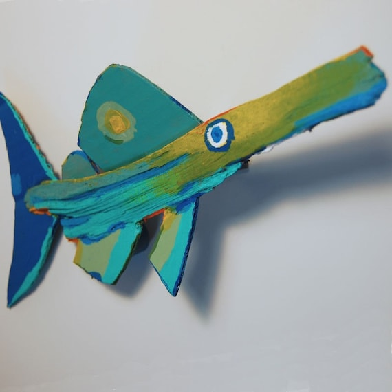 Whimsical Funky Fish Art Colorful Unique Painted Rustic Recycled Wood Hanging Wall Decor