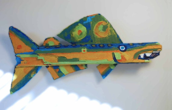 Whimsical Fish Art - Painted Yellow, Green, Blue Colorful Recycled Wood Ready to Hang Funky Fish Creation
