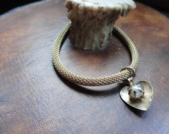 Heart Charm on Mesh Bracelet
