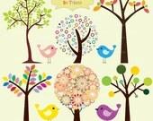 Trees an Birds Clipart Set