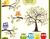 Owl & Tree Digital Clipart Set - Personal and Commercial Use - Scrapbooking, card design, web design