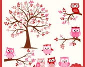 Owl and Tree Digital Clipart Set in Pink - Personal and Commercial Use - Scrapbooking, card design, web design