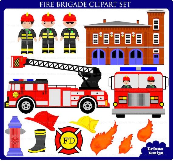 Items similar to Fire Brigade Digital Clipart Set ...