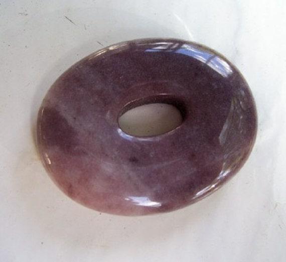 Large Oval Amethyst Purple Aventurine Donut Pendant Bead