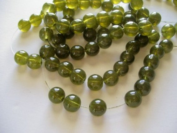 Full Strand Olive Green Round Glass Beads 10mm