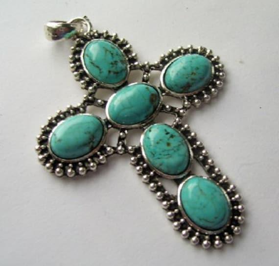 Large Turquoise Magnesite Cross Pendant - Antique Silver Pewter