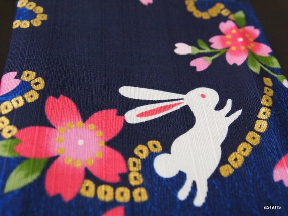 Japanese Fabric - Flower & Rabbit 100% Cotton