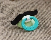 Ready to Ship...Lil' Man Moustache Binky/Pacifier... Light Green and Aqua NUK Pacifier