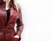 1970s Medium Leather - Red Brick Maroon - Women Jacket Coat - Free Shipping in U.S.