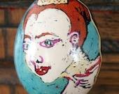 Freeform dyed egg, Pysanky, portraits