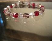 Czech and Chinese Crystal Bracelet, Amethyst, Fuchsia, Rosaline, Purple